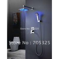 "Wall mounted12"" led shower head chrome finish bathroom mixer shower set AD1011"