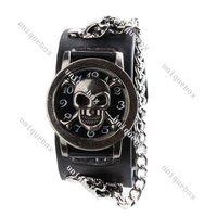 New Fashion  Punk Rock Chain Skull Leather Band Women Men Bracelet Cuff Gothic Wrist Watch Gift