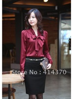 New Hot Korea fashion Women's Ladies bowtie OL shirt Long Sleeve Vintage ShirtsTops blouse New free shipping