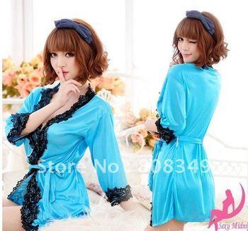 SEXY Lady Lingerie Women Sleepwear BATH ROBE Kimono Dress G-string panty Kit PURPLE/ PINK/ BLUE Free Shipping