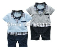 Retail-Free Shipping New Boys Baby Formal Suit Set Romper Pants 0-24M Onepiece BC Jumpsuit Summer  Clothes Formal Suit Set