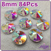 84pcs/bag,8mm round rivoli sew on Crystal AB color silver base two holes for wedding dress,Decoration