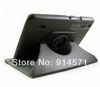 360 degree rotating Black leather pouch stand case cover for motorola XOOM tablet 10.1 inch ,free shipping