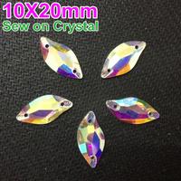 48Pcs/Pack 20x10mm Sew on Crystal rhinestone 9x20mm Glass Leaf Shape Clear AB Beauty Fish Shape