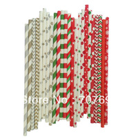 Free DHL Shipping $100 Above Paper Straws, Striped Paper Straws, Drinking Paper Straws Christmas Paper Straws 2400 pcs Mix