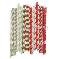 Free DHL Shipping $100 Above Paper Straws, Striped Paper Straws, Drinking Paper Straws Christmas Paper Straws 2400 pcs Mix