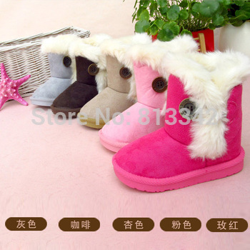2014 Free Shipping Winter Boots Kids Boys Girls Snow Boots Hasp Cotton Boots Discount Price Baby Warm Shoes Size19-35