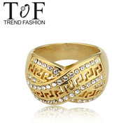 Christmas gift Wholesale price Free shipping fashion jewelry Stylish 18K Gold Plated Rhinestone Lady's Ring TR0211
