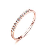 ZOCAI BRAND NATURAL 0.12 CT CERTIFIED I-J / SI DIAMOND WEDDING BAND RING ROUND CUT 18K ROSE GOLD JEWELRY JEWELLERY