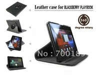 "Free Shipping 360 Degree Rotary PU Leather Case Stand Cover Skin for Blackberry Playbook 7"" Black"