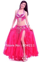 Belly Dance Costume Set 3 pics Bra&Belt&Skirt 34B/C 36B/C 38B/C 40B/C 11 colours Egypt02