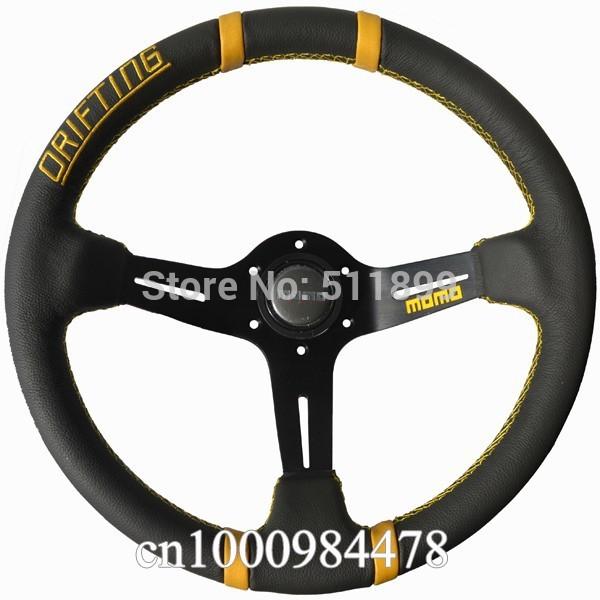 MOMO Leather Steering Wheel Drifting steering wheel Free Shipping(China (Mainland))