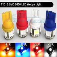 Free Shipping 10pcs T10 194 W5W 5 SMD 5050 LED Wedge Light Bulb White