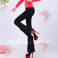 Free shipping 2014 fashion elegance leggings printing jeans women black peony lace beading bell bottom jeans denim trousers