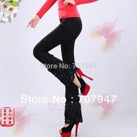 Free shipping 2014 fashion elegance leggings printing jeans women black peony lace beading bell bottom jeans denim trousers