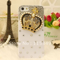 Free shipping/New Fashion Bling Crystal Rhinestone Hard Cover Case for iphone5/5G  rhinestone pearl,luxury crown,3colours