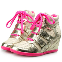 ASH style Leisure Fluorescence Velcro Candy Color Leather Sneakers,EU35~39,Heel 6cm,Women Shoes,Drop Shipping/Free Shipping