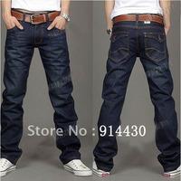 Better Quality Men Brand Slim Straight Famous Brand Denim Jeans Pants Man Casual Trousers Straight Leg Dark Blue