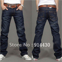 Free Shipping 2013 Better Quality Men Brand Slim Straight Denim Jeans Pants Man Casual Trousers Straight Leg Dark Blue