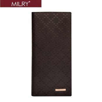 Free Shipping + Custom logo Brand MILRY 100% Guaranteed Genuine Leather men wallet purse money clip embossing pattern  C0182