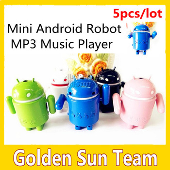 Free shipping Wholesale 5pcs/lot  Mini Android Robot MP3 Music Player Speaker With TF USB port, 5 colors