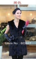 New Women's synthetic long fur Collar Vest Jacket Coat Waistcoat Gilet S/M/L/XL  BLACK No have Sashes