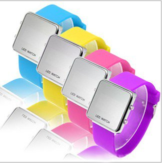 EVSHSB (53) Promotion ! Gift ! Fashion Silicone Rubber Digital Led Mirror Surface Sports Watches/Candy Watches Free shipping