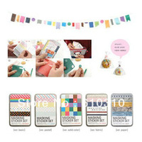Free shipping wholesale Korea Colorful DIY masking sticker set in tin box/cute Sign post Label/Multicolor gift item(12sets/Lot)
