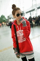 2012 Fashion Woman thicken Hoodies Long sleeves connect gloves casual coat lady outwear free shipping