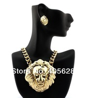 Lion head fashion necklace and earrings set, gold color, pendant size 8x7cm