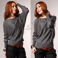 Women's Crew Neck Loose Batwing Dolman Long Sleeve T-Shirt Knitting Sweater Top 5 Colors  free shipping 8070 B19