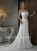 New Style, Free shipping by DHL or Fedex Popular Bridal Dress Custom Made A-Line Chiffon Off-Shoulder Wedding Dress&Wedding gown