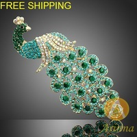 NEW Ladies Women Brooch Pin/Pretty peacock Pin W Rhinestone Crystals Animal Brooch For Wedding Invitations P0368