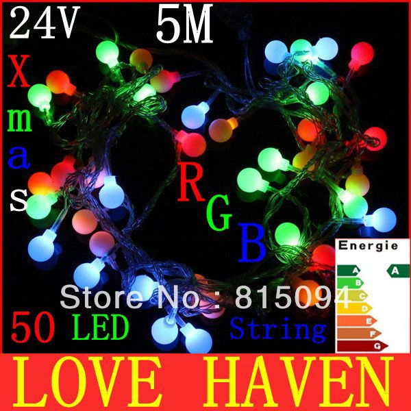 Retail sale novelty gift EU Plug 24V RGB LED String 50 LED 5M Colorful Christmas Light /Decoration String Lights with DC Joint(China (Mainland))
