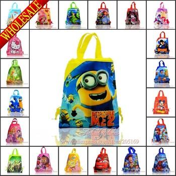 2014 Hot,1Pcs Winx Club Kids Drawstring Backpack School Bags,Kids tote bags,Mixed 30 Models Characters,34X27CM,Kids Best Gift