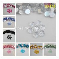 Free Shipping! 1000pcs/lot  8mm Round Starry Sky Acrylic  Flatback Rhinestone Scrapbooking Beads Crafts DIY