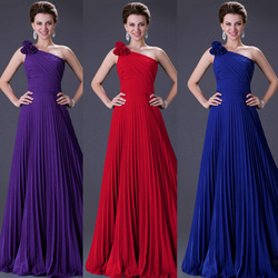 Grace Karin Stock Long One Shoulder Pleated Blue Gown Designers Prom Ball Evening Party Dresses 8 Size, Free Shipping CL3467(Hong Kong)