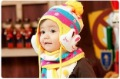 Free shipping child hat & scarf set  baby cap ear protector cap yarn baby hat autumn and winter