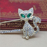 Nice Fashion Crystal Cat Pin Silver And Gold Plated Blue Eye Crystal Cat Brooches Pins AH012