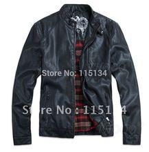 THOOO TOP New HOT GENTLEMEN'S Black pu leather classic Motorcycle jacket Coat(China (Mainland))