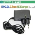 Freeshipping 5V 2A DC 2.5mm Europe Plug Converter Charger Power Supply Adapter for Sanei Flytouch3/7 q88 ALL Tablet PC,(China (Mainland))
