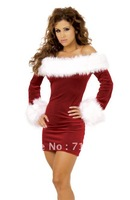 Hot Selling New Fashion Red Strapless  Santas Cute Dress Holiday Clothes Christmas Costume
