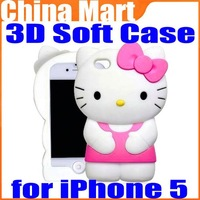 3D Hello Kitty Cute TPU Soft Silicone Back Case Cover Skin for iPhone 5 5th Free Shipping+Drop Shipping