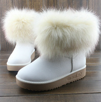 free shipping 2014 women's snow boots fox fur boots PU soft leather rubber sole martin boots 5 colors available