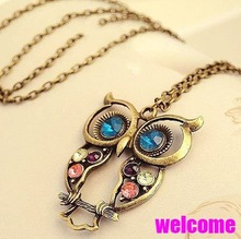 Min.order is $10 (mix order) Big discount! N010  fashion vintage bronze owl necklace wholesal!free shippping