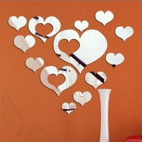 Free shipping Fashion home decoration mirror stick diy crystal 3d wall stick wall sticker!hearts!