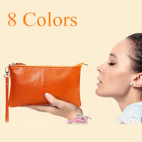 New 2014 Fashion Women Leather Handbags Clutch Purses Genuine Leather Zipper Clutch Bag with Chain Crossbody Bags for Women