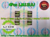 4 pcs /lot LM12UU 12mm linear ball Linear bearings 12mm*21mm*30mm for CNC XYZ