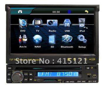 Freeshipping Hot 1 Din Universal Car DVD Player 7inch Digital Touch Screen Auto Radio Bluetooth Motorized Screen CD DVD SD AM