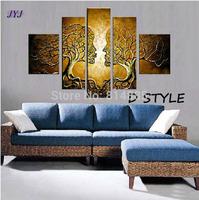 5pcs Kissing Tree Series 100% Handmade Modern Canvas Oil Painting ,Large Wall Art  ,Top Home Decoration JYJLV288
